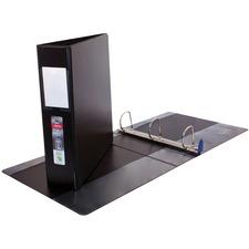 "Wilson Jones ENVI Single Touch D-Ring Binder, Black, 3"" - 3"" Binder Capacity - Letter - 8 1/2"" x 11"" Sheet Size - D-Ring Fastener(s) - 2 Internal Pocket(s) - Polypropylene, LeatherGrain - Black - Label Holder, Reinforced Seam, PVC-free - 1 Each"