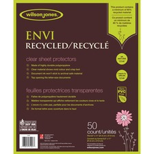 """Wilson Jones ENVI Recycled Sheet Protectors 50/pack - 0"""" Thickness - For Letter 8 1/2"""" x 11"""" Sheet - Top Loading - Clear - Polypropylene - 50 / Pack"""