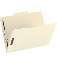 "Business Source 1/3 Tab Cut Letter Recycled Fastener Folder - 8 1/2"" x 11"" - 2 Fastener(s) - Manila - 10% - 50 / Box"