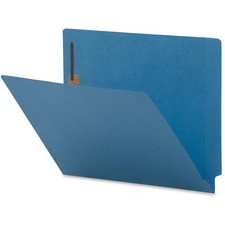 "Business Source Coloured 2-Ply Tab Fastener Folders - 8 1/2"" x 11"" - 2 Fastener(s) - End Tab Location - Blue - 10% - 50 / Box"