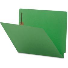 "Business Source Coloured 2-Ply Tab Fastener Folders - 8 1/2"" x 11"" - 2 Fastener(s) - End Tab Location - Green - 10% - 50 / Box"