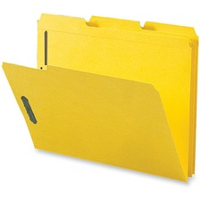 "Business Source 1/3 Tab Cut Letter Recycled Fastener Folder - 8 1/2"" x 11"" - 3/4"" Expansion - 2 Fastener(s) - 2"" Fastener Capacity - Top Tab Location - Assorted Position Tab Position - Stock - Yellow - 10% - 50 / Box"