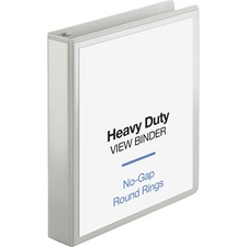 """Business Source Round-ring View Binder - 1 1/2"""" Binder Capacity - Letter - 8 1/2"""" x 11"""" Sheet Size - 350 Sheet Capacity - Round Ring Fastener(s) - 2 Internal Pocket(s) - Polypropylene, Chipboard, Board - White - Wrinkle-free, Non-glare, Transfer Safe, Gap-free Ring, Durable, Sturdy, Clear Overlay - 1 Each"""