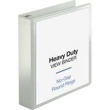 """Business Source Round-ring View Binder - 2"""" Binder Capacity - Letter - 8 1/2"""" x 11"""" Sheet Size - 475 Sheet Capacity - Round Ring Fastener(s) - 2 Internal Pocket(s) - Polypropylene, Chipboard, Board - White - Wrinkle-free, Non-glare, Transfer Safe, Gap-free Ring, Durable, Sturdy, Clear Overlay"""