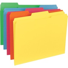 """Business Source 1/3 Tab Cut Letter Recycled Classification Folder - 8 1/2"""" x 11"""" - Top Tab Location - Assorted Position Tab Position - Stock - Blue, Green, Red, Orange, Yellow - 10% - 100 / Box"""