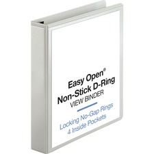 """Business Source Locking D-Ring View Binder - 1 1/2"""" Binder Capacity - Letter - 8 1/2"""" x 11"""" Sheet Size - 325 Sheet Capacity - D-Ring Fastener(s) - 4 Inside Front & Back Pocket(s) - Polypropylene, Chipboard - White - Recycled - Acid-free, Non-glare, Clear Overlay, Locking Ring, Non-stick, Exposed Rivet, Sturdy - 1 Each"""