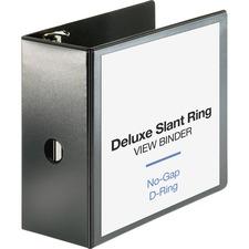 "Business Source Slant-D Ring Binder - 5"" Binder Capacity - Letter - 8 1/2"" x 11"" Sheet Size - 975 Sheet Capacity - Slant D-Ring Fastener(s) - 2 Internal Pocket(s) - Polypropylene, Chipboard - Black - Durable, PVC-free, Non-stick, Ink-transfer Resistant, Gap-free Ring, Exposed Rivet, Sturdy - 1 Each"