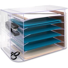 "Business Source 6-tray Jumbo Desk Sorter - 3 Pocket(s) - 6 Compartment(s) - 12.3"" Height x 18.1"" Width x 10"" Depth - Desktop - Clear - 1 Each"