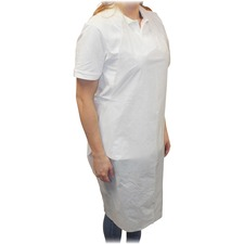 Impact Products Disposable Poly Apron - Polyethylene - For Food Service, Food Processing - White - 100 / Pack
