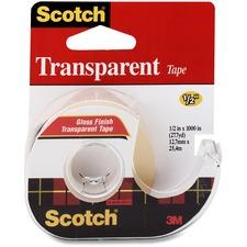 "Scotch Gloss Finish Transparent Tape - 12.8 yd (11.7 m) Length x 0.50"" (12.7 mm) Width - Dispenser Included - Handheld Dispenser - 1 Each - Transparent, Clear"