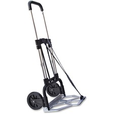 "Stebco Portable Slide-Flat Sample/Luggage Cart - Push/Pull Handle - 124.74 kg Capacity - 2 Casters - 6.75"" (171.45 mm) Caster Size - 18.8"" Width x 19"" Depth x 41"" Height - Metal Frame - Chrome, Black"