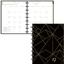 Blueline Gold Collection Diary - Yes - Monthly, Weekly, Daily - September 2018 till December 2019 - 1 Month Single Page Layout - Twin Wire - Black - Hard Cover, Bilingual