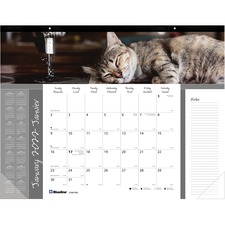 """Blueline 2021 Monthly Desk Pad Furry Collection - Julian Dates - Monthly - January 2022 till December 2022 - 1 Month Single Page Layout - 17"""" x 22"""" Sheet Size - Desk Pad - Paper - Bilingual, Notes Area, Tear-off, Event Planning Sheet - 1 Each"""