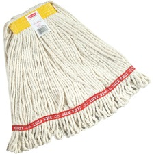 "Rubbermaid Commercial 24 oz Web Foot Blend Wet Mop, 1"" Headband, White - Cotton, Synthetic Fiber, Yarn"
