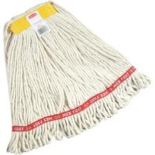 "Rubbermaid 20 oz Web Foot Blend Wet Mop, 1"" Headband, White - Cotton, Synthetic Fiber, Yarn"