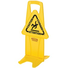 """Rubbermaid Commercial Stable Safety Sign with Tri-Lingual """"Caution"""" Imprint - 1 Each - 13.25"""" (336.55 mm) Width x 26"""" (660.40 mm) Height - Self Opening Base - Yellow"""