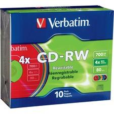 Verbatim 94325 CD Rewritable Media | CD-RW | 4x | 700 MB | 10 Pack Slim Case