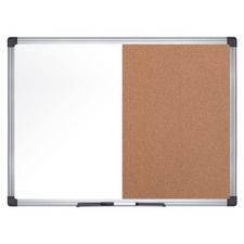 "MasterVision Dry-erase Combo Board - 0.50"" (12.70 mm) Height x 48"" (1219.20 mm) Width x 72"" (1828.80 mm) Depth - Natural Cork, Melamine Surface - Self-healing, Resilient, Easy to Clean, Dry Erase Surface, Durable - Silver Aluminum Frame - 1 Each - TAA Compliant"