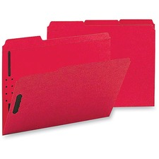 "Business Source 1/3 Tab Cut Letter Recycled Fastener Folder - 8 1/2"" x 11"" - 3/4"" Expansion - 2 Fastener(s) - 2"" Fastener Capacity - Top Tab Location - Assorted Position Tab Position - Red - 10% - 50 / Box"