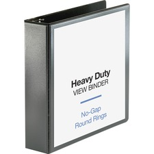 """Business Source Heavy-duty View Binder - 2"""" Binder Capacity - Letter - 8 1/2"""" x 11"""" Sheet Size - 475 Sheet Capacity - Round Ring Fastener(s) - 2 Internal Pocket(s) - Polypropylene-covered Chipboard - Black - Non-glare, Clear Overlay, Gap-free Ring, Durable, Sturdy, Exposed Rivet, Heavy Duty - 1 Each"""