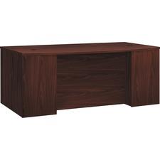 """HON Foundation Breakfront Desk Shell - 72"""" x 42"""" x 29"""" , 1"""" Top, 1"""" Panel - Finish: Thermofused Laminate (TFL), Mahogany"""