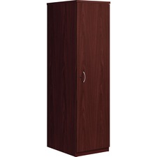 "HON Foundation Wardrobe Cabinet 65""H - 1"" End Panel, 1"" Top, 18"" x 24"" x 65"" - Material: Metal Handle - Finish: Mahogany, Thermofused Laminate (TFL) Surface, Silver Handle"