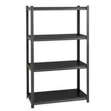 "Lorell 3,200 lb Capacity Riveted Steel Shelving - 60"" Height x 36"" Width x 18"" Depth - 30% - Black - Steel, Laminate - 1 Each"