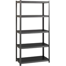 "Lorell 3,200 lb Capacity Riveted Steel Shelving - 72"" Height x 36"" Width x 18"" Depth - 30% - Black - Steel, Laminate - 1 Each"