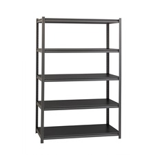 "Lorell 3,200 lb Capacity Riveted Steel Shelving - 72"" Height x 48"" Width x 24"" Depth - 30% - Black - Steel, Laminate - 1 Each"