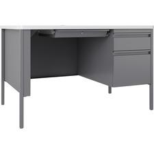 LLR66940 - Lorell Fortress White/Platinum Steel Teachers Desk