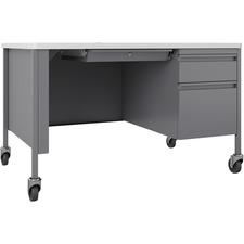 LLR 66944 Lorell Fortress White Top/Platinum Teachers Desk LLR66944