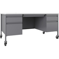 LLR66946 - Lorell Fortress White/Platinum Steel Teachers Desk