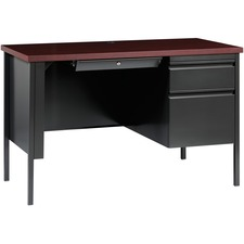 LLR66949 - Lorell Fortress Series Mahogany Laminate Top Desk