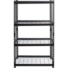 "Lorell Wire Deck Shelving - 60"" Height x 36"" Width x 18"" Depth - 30% - Black - Steel - 1 Each"