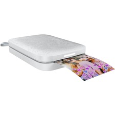HP Sprocket 200 Zero Ink Printer - Color - Photo Print - Portable - Pearl White - 313 x 400 dpi - Bluetooth - USB - Battery Built-in