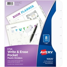 AVE 16826 Avery Write & Erase Pocket Plastic Dividers AVE16826