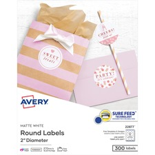"AVE 22877 Avery Easy Peel Print-to-the-edge 2"" Round Labels AVE22877"