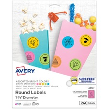 AVE 4330 Avery Astrobrights Color Easy Peel Labels AVE4330