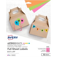 AVE 4332 Avery Astrobrights Color Easy Peel Labels AVE4332