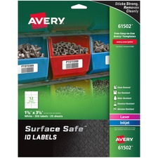 AVE 61502 Avery Surface Safe ID Labels AVE61502