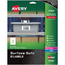 AVE 61503 Avery Surface Safe ID Labels AVE61503