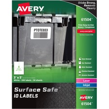 AVE 61504 Avery Surface Safe ID Labels AVE61504