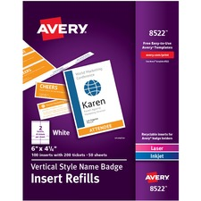 AVE 8522 Avery Vertical Name Badge & Ticket Inserts AVE8522