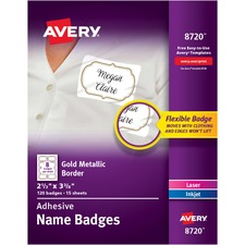 AVE8720 - Avery® Metallic Border Adhesive Name Badges