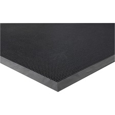 """Genuine Joe Brush Tip Scraper Mat - Indoor, Outdoor - 60"""" (1524 mm) Length x 36"""" (914.40 mm) Width x 0.40"""" (10.16 mm) Thickness - Rectangle - Rubber - Black"""