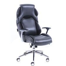 Lorell Executive High-back Leather Chair - Black Bonded Leather Seat - Black Bonded Leather Back - High Back - 5-star Base - 1 Each