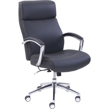 Lorell Executive Leather High-Back Chair - Black Bonded Leather Seat - Black Bonded Leather Back - High Back - 5-star Base