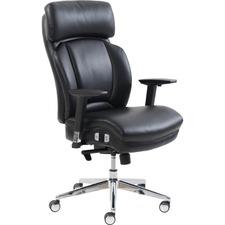 Lorell Lumbar Support High-Back Chair - Black Bonded Leather Seat - Black Bonded Leather Back - High Back - 5-star Base