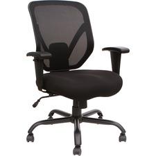 Lorell Soho Big & Tall Mesh Back Chair - Black Fabric Seat - Black Back - 5-star Base - 1 Each