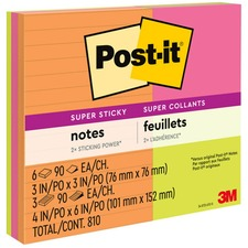 """Post-it® Super Sticky Notes - Rio de Janeiro Color Collection - 3"""" x 3"""" , 4"""" x 6"""" - Square, Rectangle - 90 Sheets per Pad - Assorted - Paper - Sticky, Recyclable"""